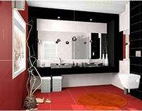 łazienka czarno czerwona