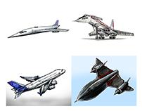 Retro Planes Drawings