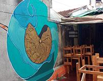 Mural en terraza de Favela