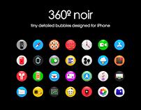 360º noir Icon Pack