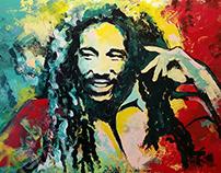 Bob Marley - Acrilic on Canvas 1x1,5m Painting