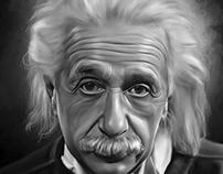 Albert Einstein Digital Oil Painting by Wayne Flint