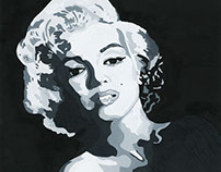 Abstract B&W Marilyn Monroe Painting