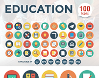 100 Education Flat Icons