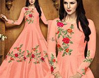 Fancy Green Long Gown Style Anarkali Suit By DNU