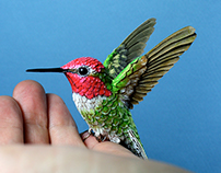 Paper and wood hummingbird
