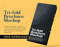 Free A4 Tri-fold Brochure PSD Mockup