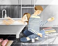 Bathroom. Love together.