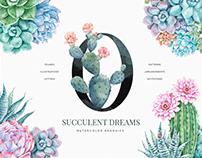 Succulent Dreams Watercolor Floral Set