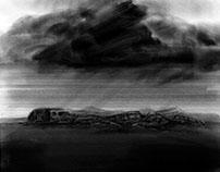 Nube negra sobre cementerio