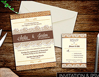 Burlap and Lace Wedding Invitation Suite