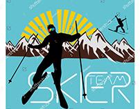 skier team graphic design vector art