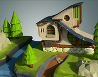 House for Game 3D Model Painted
