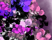 illustrated multi-colored leafy design