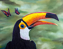 Toucan and butterflies