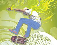 Urban Waves - menu cover/poster illustration