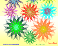 Abstract Full Color Flowers Vector Graphic