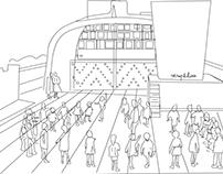 Sketch Ciudad Radieuse, Marseille. Le Corbusier