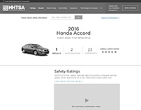 NHTSA Vehicle Detail page