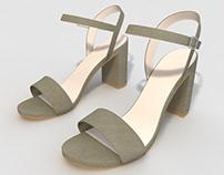 Grey Suedette Block Heel Sandals 3D Model