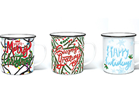 Multi-Panel Christmas Mugs