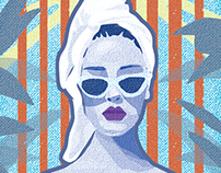 Woman in towel.