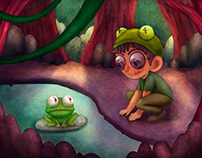 The kid and the frog