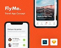 FlyMe - Travel App Freebie UI Kit