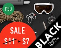 Black Travel Brutal Branding Mock-Up (PSD)