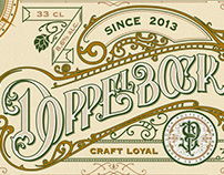 Handlettered craft beer label.