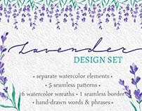 Watercolor Lavender design set