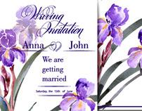 Watercolor irises, roses, peonies.