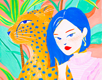 Short Hair Girl and Leopard in Garden