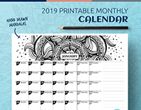 2019 Printable Monthly Calendar