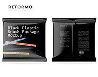 Black Plastic Snack Package Front & Back View Mockup