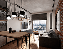 Loft kitchen and living room