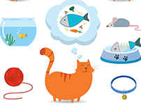 Cute cat design with elements. Vector illustration