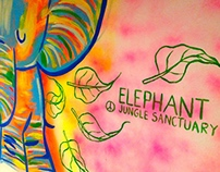 Elephant mural in Chiang Mai, Thailand.