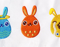 COLORFUL PERSONA EASTER EGGS EMBROIDERY DESIGN