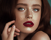 Beauty freckles retouch