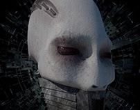 Head of a cyberpunk character