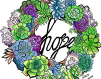 """SUCCULENT AND CACTI """"HOPE"""" ILLUSTRATION IN MARKER"""