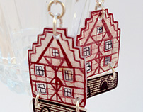 Earrings Tudor style houses