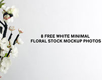 8 Free White Minimal Floral Stock Mockup Photos