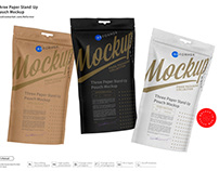 Three Paper Stand-Up Pouch Mockup