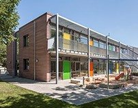 Colourful daycare center with öko skin, Erlangen