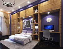 Bed Room Design Purple Theme