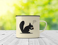 Squirrel cup of coffee design