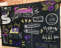 Chalklettering Friends Açaí Store.