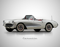 1957 Chevy Corvette Roadster - Affinity D. Vectors